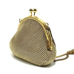 WHITING AND DAVIS Gold Chain Kisslock Clutch